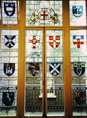 Coats of arms in stained glass