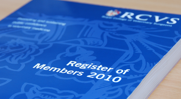 Front cover of RCVS Register