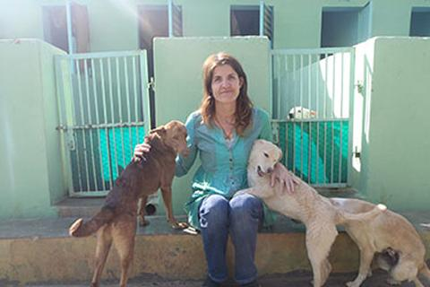 Rachel Wright with dogs