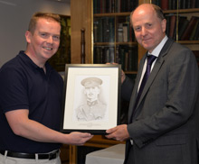 James Tierney and Gordon Hockey with the portrait of Lt Fox