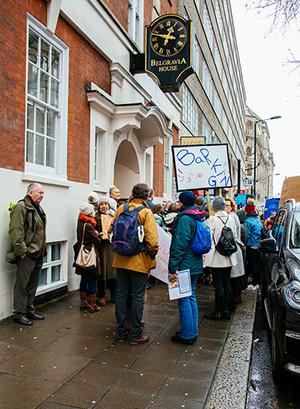 Protesters outside Belgravia House
