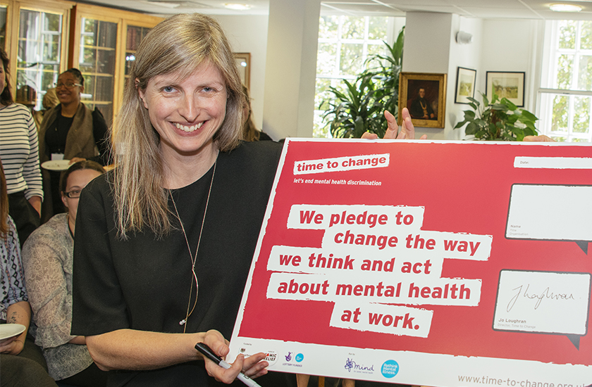 RCVS CEO Lizzie Lockett with Time to Change pledge