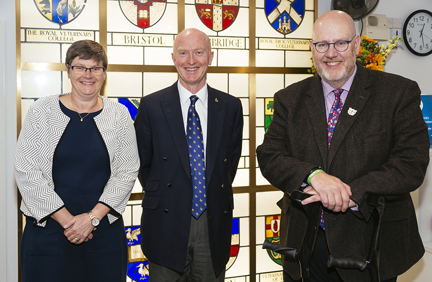 Chair of Education Committee Susan Paterson, Head of Surrey Vet School Professor Chris Proudman and RCVS President Niall Connell pictured on Thursday 3 October 2019 following the approval of Surrey's veterinary degree