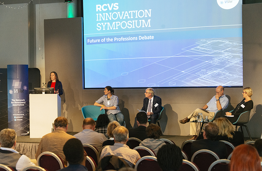 A panel discussion at the RCVS ViVet Symposium in October 2019