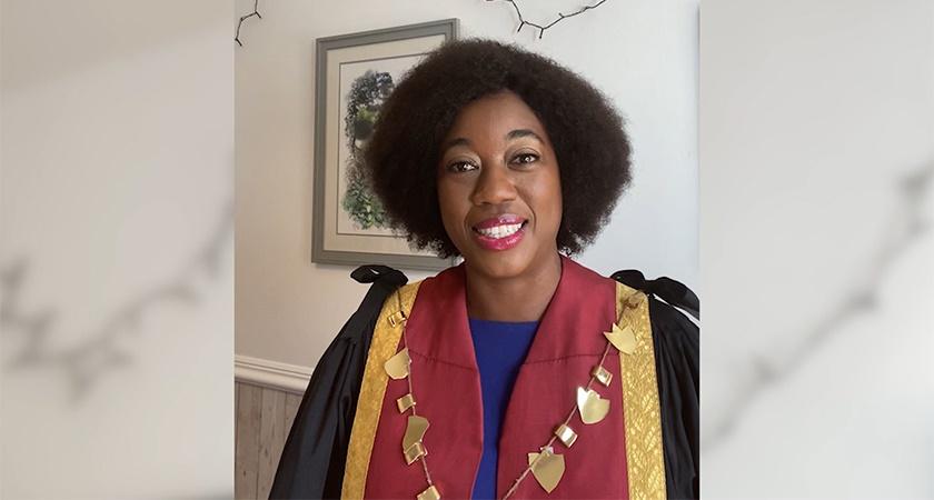 Dr Mandisa Greene, RCVS President 2020-21 delivering her opening speech