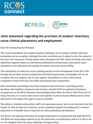 Screenshot of letter email regarding student VNs