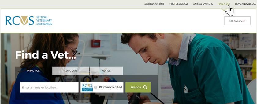 Screenshot of Find a Vet homepage