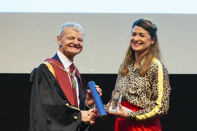 Professor Stephen May, RCVS President, with Ebony Escalona, recipient of the RCVS Inspiration Award at RCVS Day 2018