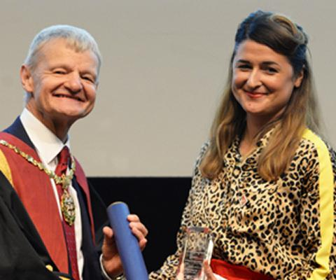 Professor Stephen May, RCVS President, with Ebony Escalona, recipient of the RCVS Inspiration Award at RCVS Day 2018